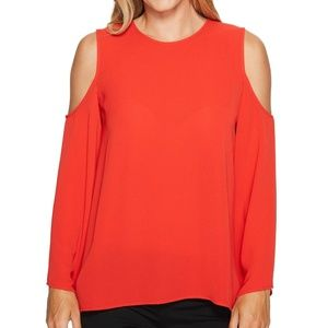 Vince Camuto Cold Shoulder Crepe Bell Sleeve Top